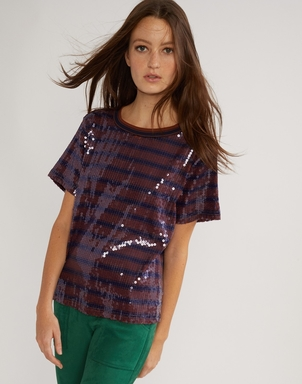 Cynthia Rowley Sequin Striped Tee Tops