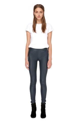 Mackage Navi Stretch Leather Legging in Navy Pants