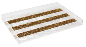 Edie Parker Gold Striped Vanity Tray Home decor