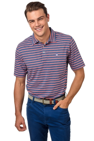 Southern Tide Heathered Channel Marker Stripe Polo Tops