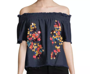 Tanya Taylor Carmen Off-the-Shoulder Denim Top Tops