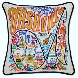 Nashville Hand Embroidered Pillow Gifts Home decor
