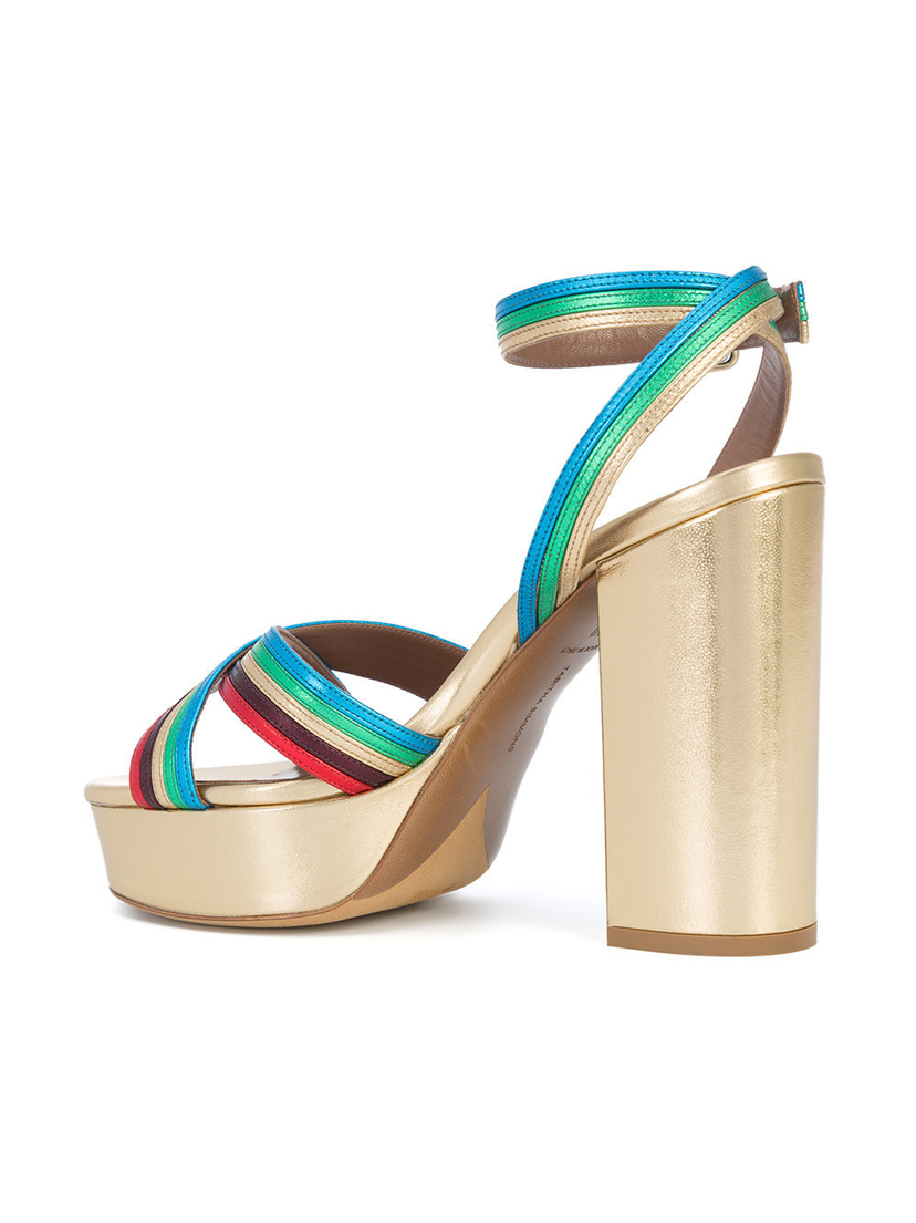 Tabitha Simmons Metallic Block Heel Sandals (Originally $845) Sale Shoes