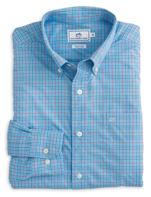 Southern Tide Ocean highway Plaid Intercoastal Performance Shirt in Ocean Channel Tops