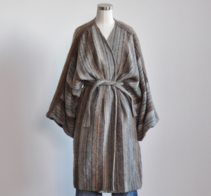 Just Say Native Gray Striped Wrap Coat Outerwear