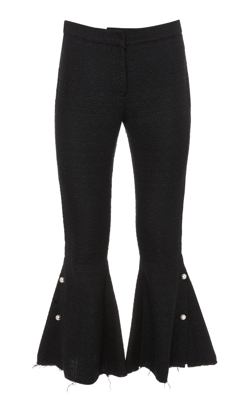 Mother of Pearl Cropped Flare Trousers w/ Pearl Detail Pants