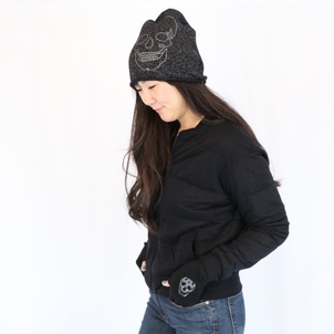 360 CASHMERE Embroidered Skull Beanie Accessories