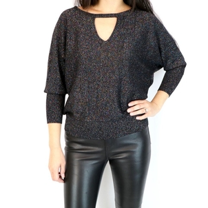 Milly Italian Shimmer Cutout Sweater Tops
