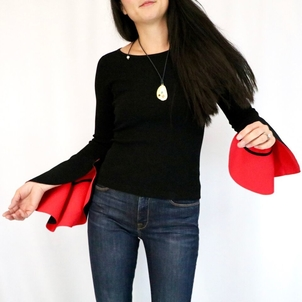 Milly Contrast Draped Sleeve Pullover Tops