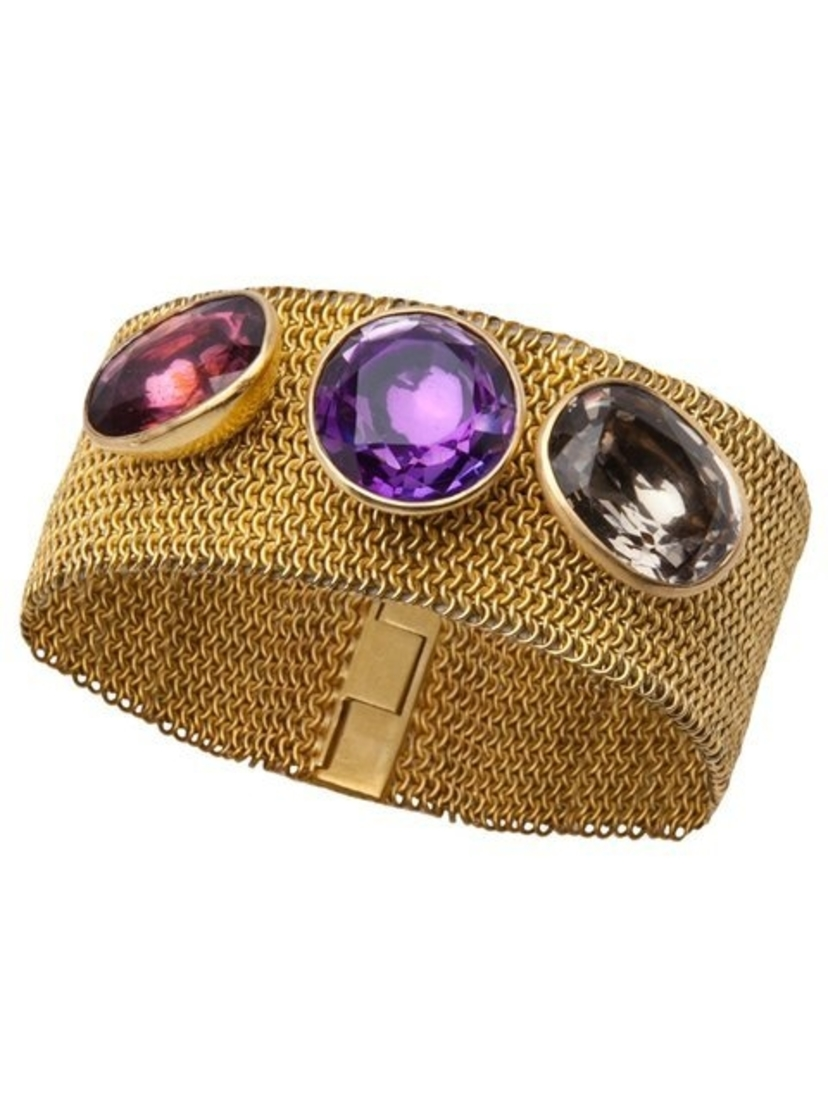 Marie-Hélène de Taillac Gold Mesh Studded Bracelet in Smokey Quartz, Amethyst and Spinel Jewelry