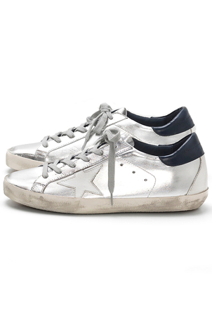 Golden Goose Deluxe Brand Superstar Sneakers in Silver/Blue Shoes