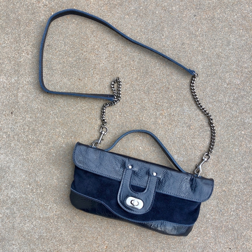Kim White Navy Leather & Suede Clutch Bags