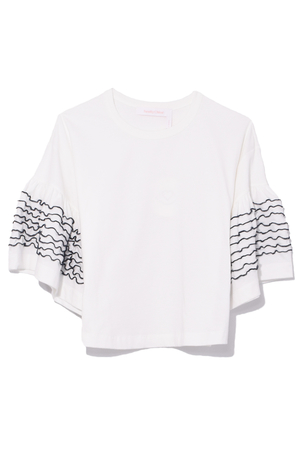 See by Chloé Stitched Sleeve T-Shirt in Snow White Tops