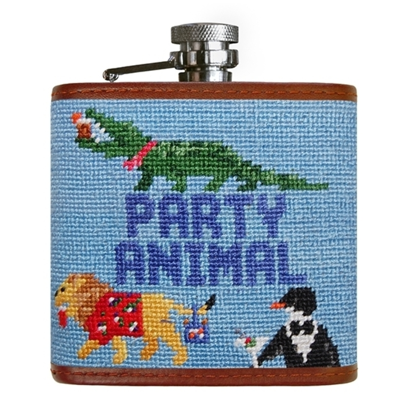 Smathers & Branson Party Animal Needlepoint Flask