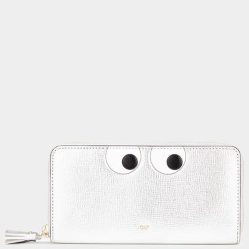 Anya Hindmarch Eyes Large Zip Wallet Silver Accessories