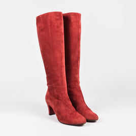 Christian Louboutin Red Suede Round Toe Knee High Boots SZ 40