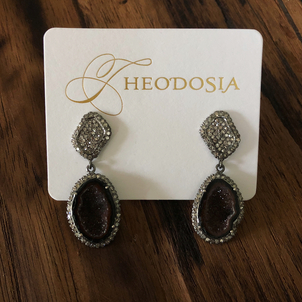 Theodosia Jewelry Pave Diamond & Geode Drop Earring Jewelry