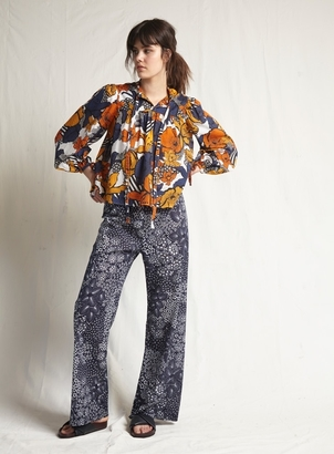 Warm Flower Bomb Navy Yuma Pant Pants