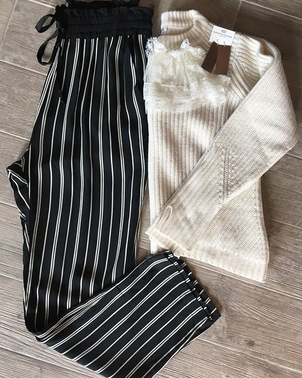 Clu Manoush Striped perfection  Jazz up your winter sweaters with a fun pant! Pants Tops