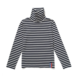 Navy and Cream Striped Turtleneck