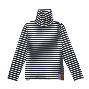 Kule Navy and Cream Striped Turtleneck Tops