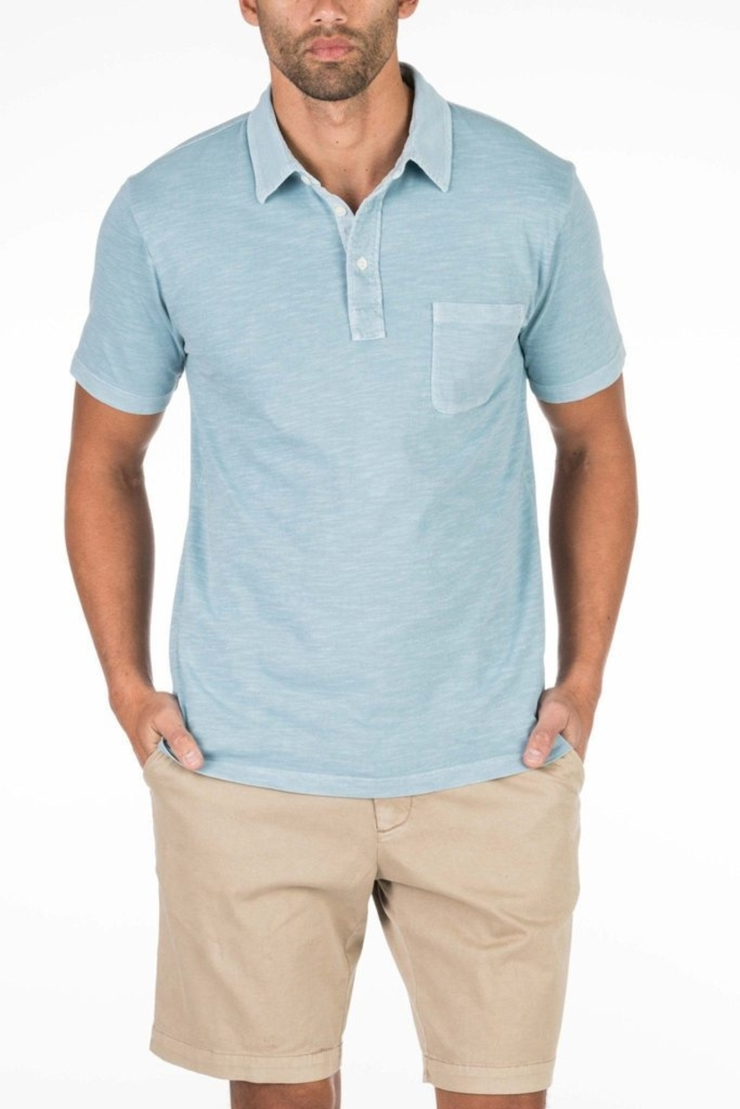 Faherty Brand Garment Dyed Polo in Sky Blue Tops