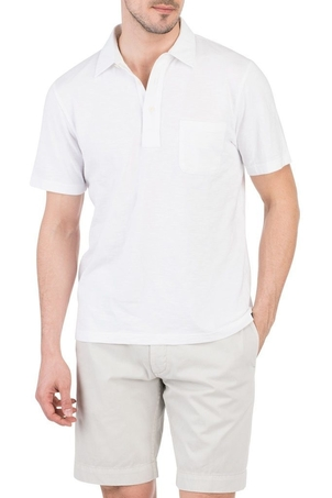 Faherty Brand Garment Dyed Polo in White Tops
