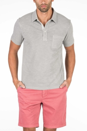 Faherty Brand Garment Dyed Polo in Ice Grey Tops