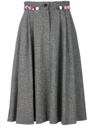 Olympia Le-Tan Floral Embroidered Midi Skirt (Originally $1,120) Sale Skirts
