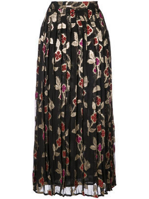 Dodo Bar Or Pleated Floral Skirt in Gold and Pink (Originally $345) Sale Skirts