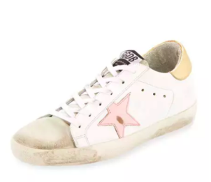 Golden Goose Deluxe Brand Superstar Leather and Suede-Gold & Pink Shoes