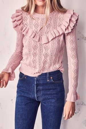 Loveshackfancy Natalie Ruffle Sweater Tops