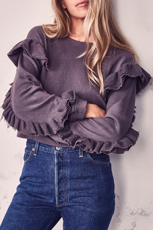 Loveshackfancy Ruffle Sweatshirt Charcoal Tops