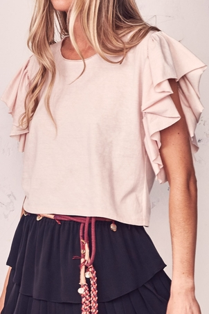 Loveshackfancy Flutter Sleeve Tee Dusty Rose Tops