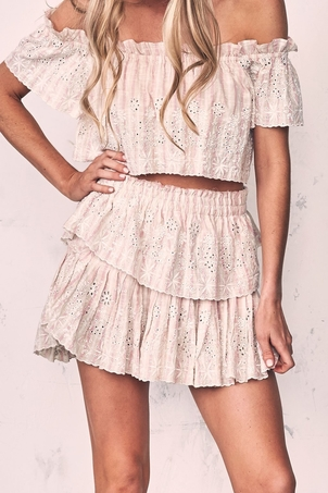 Loveshackfancy Ruffle Mini Skirt Tan/Pink Skirts