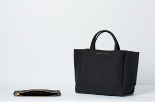 Ampersand As Apostrophe Half Tote Black Matte Stiff Bags