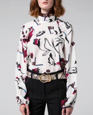Dorothee Schumacher Floral Abstract Silk Blouse Tops