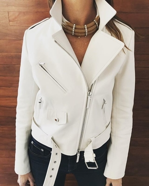 The Row White Leather Outerwear