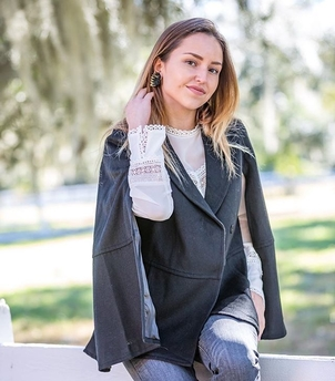 Mignonne Gavigan Rebecca Taylor Twist on a Classic Cape Jewelry Outerwear Tops
