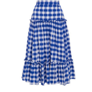MDS Stripes Tiered Ruffle Skirt in Navy Skirts