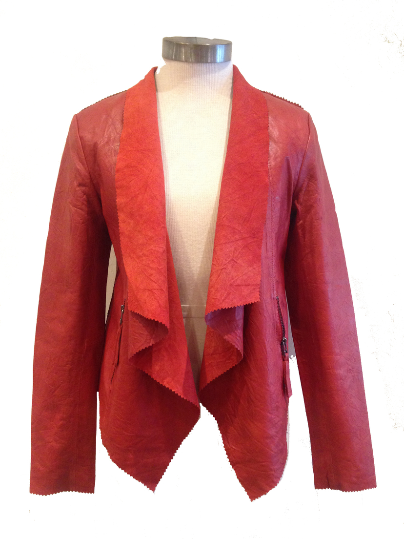 Cigno Nero Red Leather Jacket Outerwear