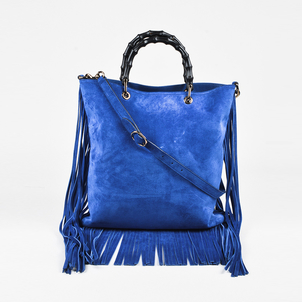 Gucci Gucci Cobalt Blue Suede Leather Bamboo Handle Fringe