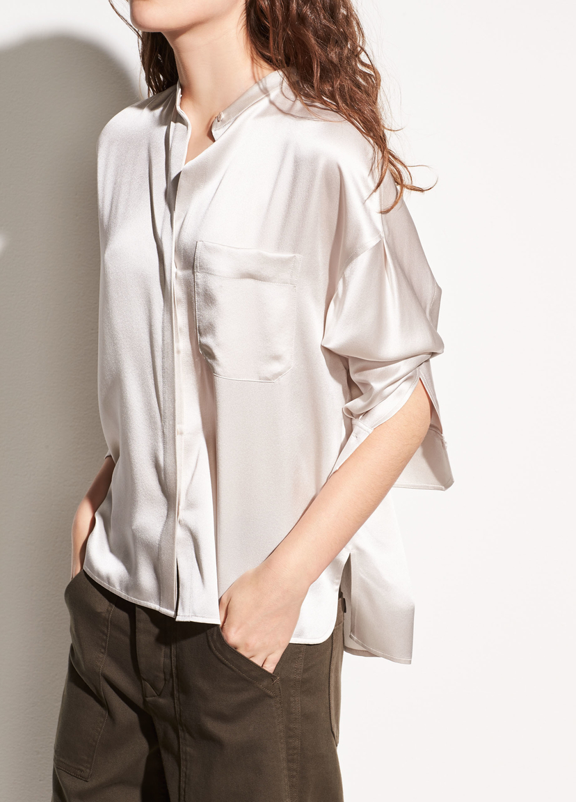 Vince Single Pocket Silk Blouse Tops