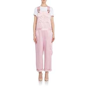 Rosie Assoulin Pink Silk Overalls Jumpsuits / Rompers