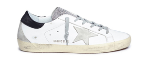 Golden Goose Deluxe Brand White Superstar Sneakers with Glitter Shoes
