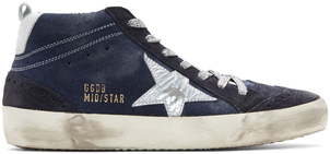 Golden Goose Deluxe Brand Mid Star Indigo Suede Sneakers Shoes