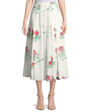 Rosie Assoulin Red Roses Skirt Skirts