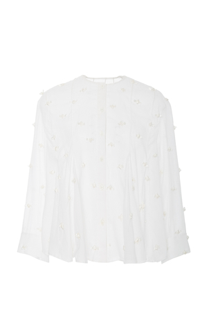 Rosie Assoulin Rosette Embroidery Button Blouse Tops