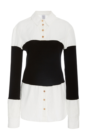 Rosie Assoulin Long Sleeve Shirt With Ribbed Bodice Tops
