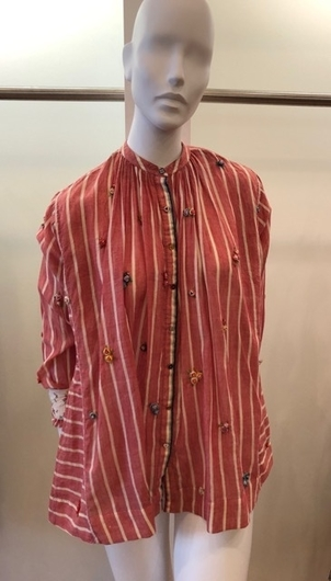 Pero Stripe Cotton Shirt with Flowers Tops